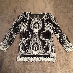 Tops - Black and white sheer blouse